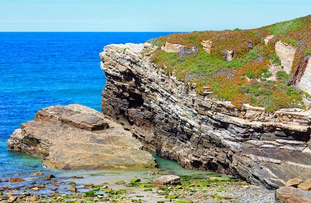 islas: Summer blossoming Atlantic coast landscape with pink flowers (Islas beach, Spain). Stock Photo