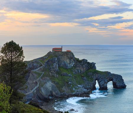 Doniene Gaztelugatxeko hermitage on top of Gaztelugatxe island. Biscay, Basque Country (Spain).
