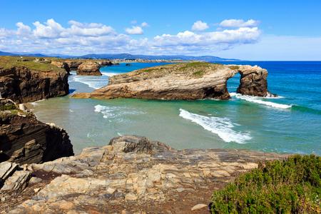cathedrals: Cantabric coast summer landscape (Cathedrals Beach, Lugo, Galicia, Spain).