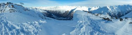 station ski: Winter mountain scenery with ski station on snowy slopes (Tyrol, Austria). Panorama.