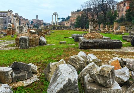 roman pillar: Ruins of Roman Forum in Rome, Italy. Stock Photo