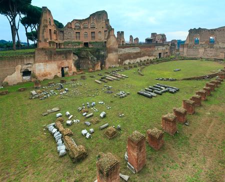hippodrome: Ruins of Hippodrome Stadium of Domitian at Palatine Hill in Rome, Italy.
