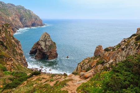 Atlantic ocean coast in cloudy weather. View from Cape Roca (Cabo da Roca), Portugal. Stock Photo
