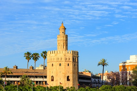 Evening view on Tower of Gold (Torre del Oro), Seville, Spain. Constructed in first third of 13th century.