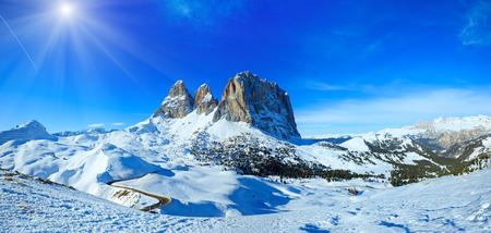 sella: Sunshiny winter mountain landscape with road (Sella Pass , Italy).