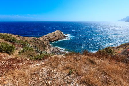 blanca: Mediterranean sea summer rocky coast view (Portman, Costa Blanca, Spain). Stock Photo