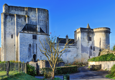 Medieval walls of Royal City of Loches, France. Was constructed in the 9th century. Stock Photo