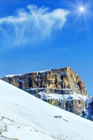 sella: Sunshiny winter mountain landscape (Sella Pass , Italy). Stock Photo