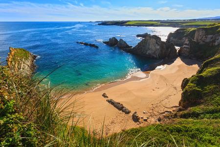 Sandy Mexota beach (Spain). Atlantic Ocean coastline landscape. Stock Photo