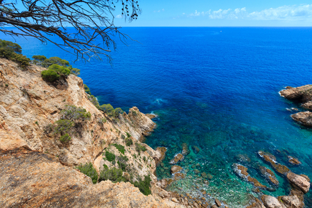Summer sea rocky coast landscape (Spain). View from above. Stock Photo