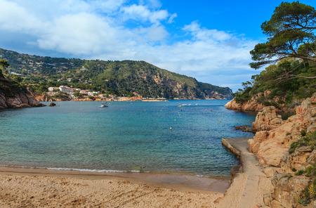 Summer sea rocky coast view from beach (near Palamos, Costa Brava, Catalonia, Spain).