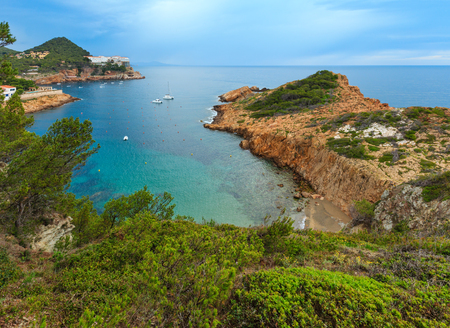 Sea bay summer view with small beach. Costa Brava, Catalonia, Spain. Stock Photo