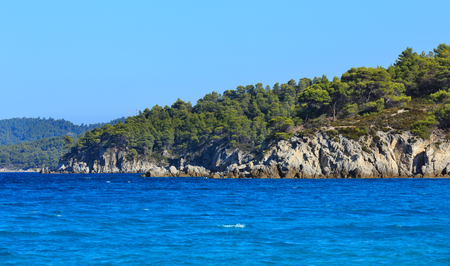 sithonia: Aegean sea coast landscape with small waves, view from Armenistis beach (Chalkidiki, Greece).