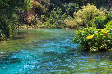 blue eye: Blue Eye (water spring) with clear blue water summer view (near Muzine in Vlore County, Albania). Stock Photo