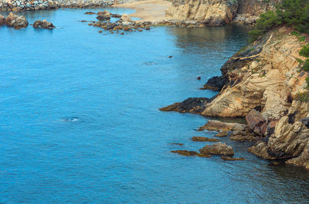 Summer rocky coast view from above, Costa Brava, Spain.