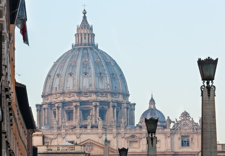 ROME, VATICAN CITY STATE -  JANUARY 09, 2015: Saint Peter Basilica dome in Vatican City. Build in 1506-1626. Editorial