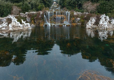 nymphs: Caserta, Italy - January 10, 2015 :  Fountain of Diana and Actaeon and Big Waterfal. Mythological statues of nymphs in the garden Royal Palace in Caserta.