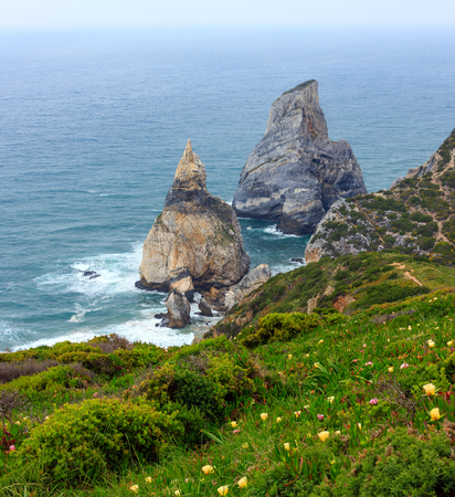 roca: Atlantic ocean coast (granite boulders and sea cliffs) in cloudy weather. View from Cape Roca (Cabo da Roca), Portugal.
