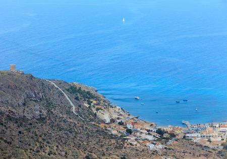 Mediterranean Sea summer coastline. Top view from Tinoso cape (Cartagena, Spain). Peoples are unrecognizable.