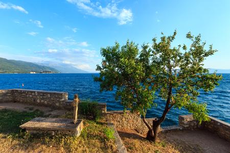 The grave of St. John at Kaneo (Saint John Theologian) and Lake Ohrid summer view (Macedonia).