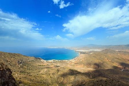 playa: Mediterranean Sea summer coastline. Top view from Tinoso cape (Cartagena, Spain). Stock Photo