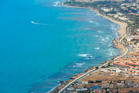 Mediterranean Sea summer coastline. Top view from Tinoso cape (Cartagena, Spain). All people are unrecognizable.