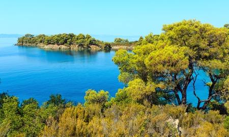Morning summer Aegean Sea with pine trees on shore and small beaches, Sithonia (near Ag. Kiriaki), Halkidiki, Greece. Stock Photo