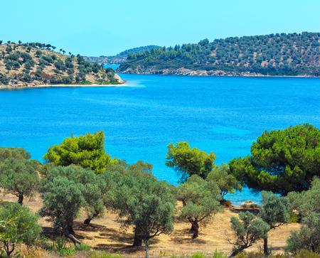 Beautiful summer Aegean Sea rocky coast landscape, Sithonia (near Lagonisi beach), Halkidiki, Greece. Two shots stitch image.