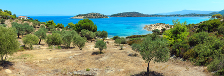 Beautiful summer Aegean Sea coast landscape, Sithonia (near Lagonisi beach), Halkidiki, Greece. Three shots stitch high-resolution panorama.
