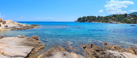Aegean sea coast landscape, view from Karidi beach (Chalkidiki, Greece). Two shots stitch panorama. Stock Photo