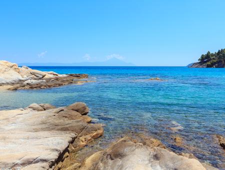 Aegean sea coast landscape, view from Karidi beach (Chalkidiki, Greece).
