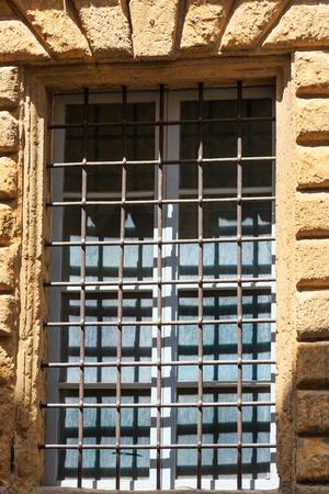 lattice window: Cast-iron lattice on the window close-up.