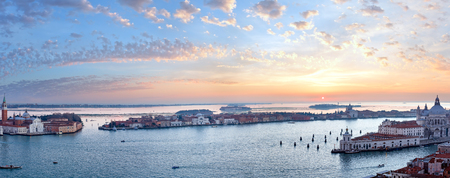 The Island of San Giorgio Maggiore. Venice city (Italy) picturesque sunset view. Seven shots panorama. All peoples unrecognizable