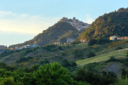 The Republic of San Marino (oldest republic in the world) sunrise view  with Monte Titano in far. Stock Photo
