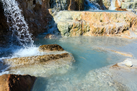 bath: Natural spa with waterfalls  and hot springs at Saturnia thermal baths, Grosseto, Tuscany, Italy