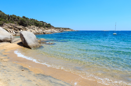 Summer sea view from sandy beach (Valti, Sithonia, Halkidiki, Greece).