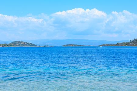 Summer sea coast landscape (Livari beach, Halkidiki, Sithonia, Greece).