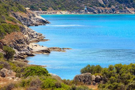 Summer sea coast landscape (Halkidiki, Sithonia, Greece). People unrecognizable.