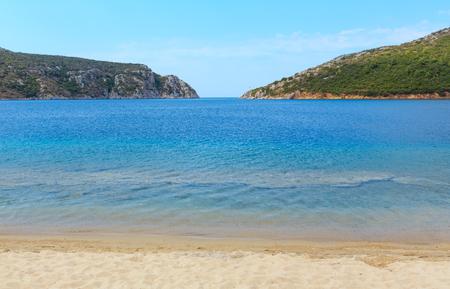 Summer sea coast landscape (Porto Koufo beach, Halkidiki, Sithonia, Greece).