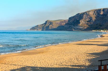 Morning shadows on beautiful Tyrrhenian sea sandy beach (Gaeta, Latina, Italy)