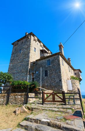 Old tower on coast (Ouranoupoli, Chalcidice, Greece). Stock Photo