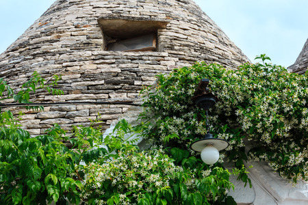 Trulli house roof in main touristic district of Alberobello beautiful old historic town, Apulia region, Southern Italy