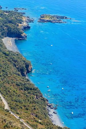 View from San Biagio mountain on Tyrrhenian sea coast near Maratea, Basilicata, Italy. People are unrecognizable. Reklamní fotografie