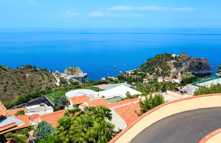 Beautiful Taormina view from up, Sicily, Italy. Sicilian seascape with coast, beaches and island Isola Bella.