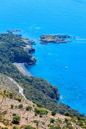 View from San Biagio mountain on Tyrrhenian sea coast near Maratea, Basilicata, Italy