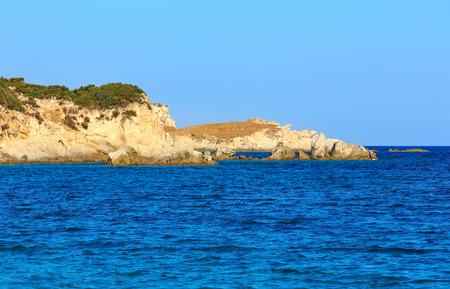 Summer sea rocky coast landscape (Halkidiki, Sithonia, Greece).