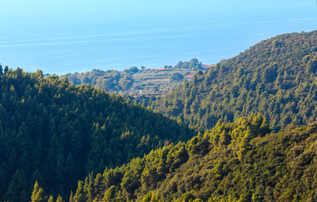 Beautiful summer seascape with a wooded coast, view from the Athos Peninsula (Halkidiki, Greece).