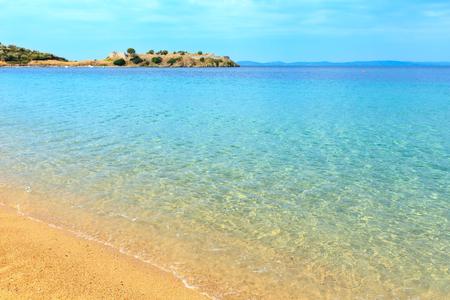 Summer sea coast landscape (Tristinika beach, Halkidiki, Sithonia, Greece). Stock Photo