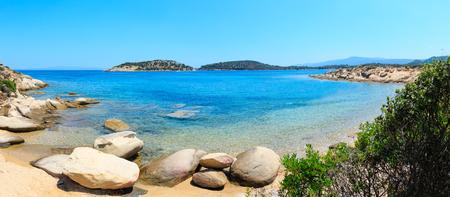 Beautiful summer Aegean Sea coast landscape, Sithonia (near Lagonisi beach), Halkidiki, Greece. Two shots stitch panorama.