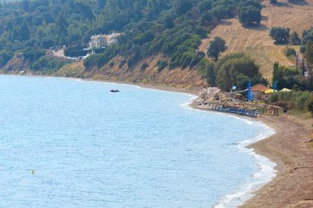 Summer sea coast top view with beach (Kassandra peninsula, Halkidiki, Greece).